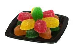 czarny cukierku owoc talerz Zdjęcie Stock