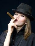 czarny cygarowa dama Obraz Royalty Free