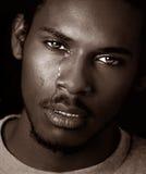 czarny człowiek płakania Zdjęcia Royalty Free