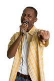 czarny człowiek karaoke Zdjęcia Royalty Free