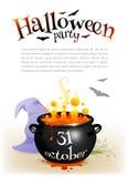 Czarny czarownica kocioł z pomarańczowym parzeniem i Zdjęcie Royalty Free