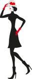 czarny czerwona kobieta royalty ilustracja