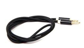 Czarny dźwięka kabel z 3 5 mm audio dźwigarka odizolowywająca Obrazy Stock