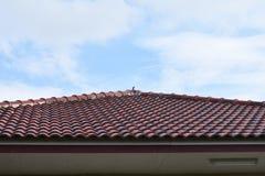 Czarny dachówkowy dach budowa dom z niebieskiego nieba i chmury tłem Obrazy Stock