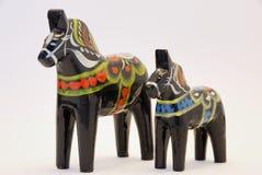 czarny dalarhorses dwa Zdjęcie Stock