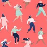 czarny dancingowe ilustracje ustawiać wektorowe białe kobiety Kobieta bezszwowy wzór Wektorowi szablony z kobiet różnymi narodowo ilustracja wektor