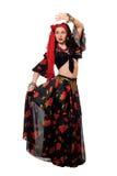 czarny dancingowy gypsy odizolowywająca spódnicowa kobieta Obrazy Stock
