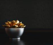 Czarny dekoracyjny garnek z złocistą rośliną inside na czarnym tle obraz royalty free