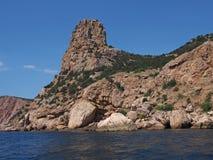 Czarny denny wybrzeże blisko Balaklava, Crimea, Ukraina Fotografia Royalty Free