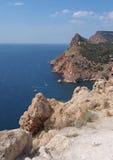 Czarny denny wybrzeże blisko Balaklava, Crimea, Ukraina Zdjęcie Stock
