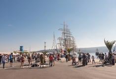 Czarny Denny Wysoki statku Regatta 2016, Varna, Bułgaria Fotografia Royalty Free