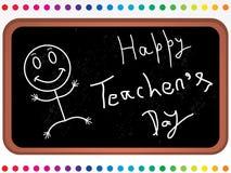 czarny deskowego kreskówki dzień szczęśliwi nauczyciele Fotografia Royalty Free