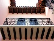 Czarny dokonanego żelaza balkon obraz stock
