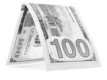 Czarny dolar składał w połówce, pieniądze buda, waluta kąt odizolowywający Obraz Stock