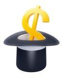 czarny dolarowy kapeluszu inside znak Obraz Stock