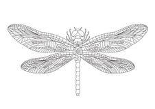 Czarny dragonfly na białym tle odizolowywającym wektor ilustracja wektor