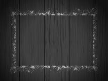 Czarny drewno z rozpylającą grunge konturu granicą Zdjęcie Stock
