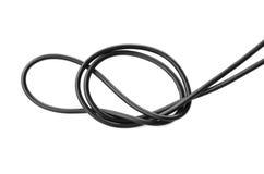 czarny druciany władza kabel odizolowywa na bielu Obraz Royalty Free