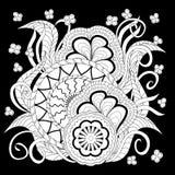 Czarny druk z białymi mandalas, opuszcza i kwitnie royalty ilustracja