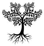 Czarny drzewny logo ilustracja wektor