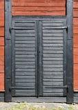 czarny drzwiowy drewniany Zdjęcia Stock