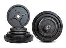 Czarny dumbbell z metali dyskami obrazy stock