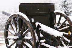 Czarny działo w zimie Zdjęcie Royalty Free