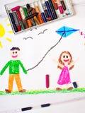 czarny dzieci cyfrowa ilustracyjna kania bawić się biel Obraz Royalty Free