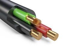 Czarny elektryczny kabel - zakończenie Fotografia Royalty Free