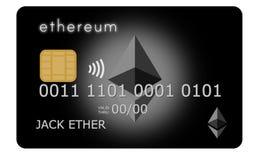 Czarny Ethereum kredyt, karta debetowa lub Zdjęcia Royalty Free