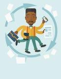 Czarny facet z multitasking pracą Zdjęcie Royalty Free