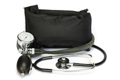 Czarny fachowy ciśnienie krwi monitor na bielu Zdjęcia Royalty Free