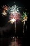 czarny fajerwerków jeziora niebo obraz royalty free