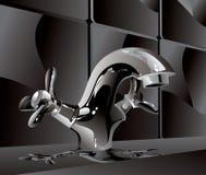 czarny faucet metalu woda Obrazy Stock