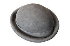 Czarny fedora kapelusz nad białym tłem Obrazy Royalty Free