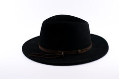 Czarny Fedora kapelusz z brown lampasem Obrazy Stock