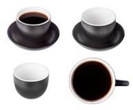 czarny filiżanek kawa espresso set Zdjęcie Royalty Free