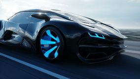 Czarny futurystyczny elektryczny samochód na autostradzie w pustyni Bardzo szybki jeżdżenie Pojęcie przyszłość Realistyczna 4K an ilustracji
