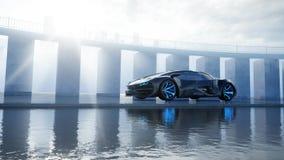 Czarny futurystyczny elektryczny samochód na nadbrzeżu Miastowa mgła Pojęcie przyszłość świadczenia 3 d ilustracja wektor
