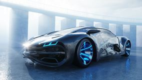 Czarny futurystyczny elektryczny samochód na nadbrzeżu Miastowa mgła Pojęcie przyszłość świadczenia 3 d ilustracji
