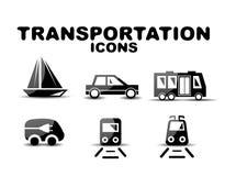 Czarny glansowany transport ikony set royalty ilustracja