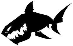 Czarny graficzny kreskówki sylwetki rekin z ostrymi zębami Zdjęcia Stock