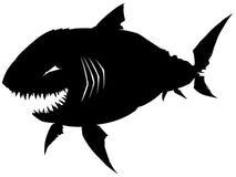Czarny graficzny sylwetka rekin z ostrymi zębami Obraz Royalty Free
