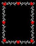 czarny, granica serca walentynki Fotografia Royalty Free
