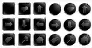 czarny guzik z ustaloną wektorową sieci Zdjęcia Stock