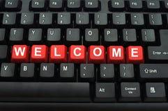 czarny guzika klawiaturowy czerwieni powitanie Obrazy Royalty Free