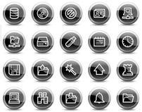 czarny guzików okręgu glansowana ikon serweru sieć Zdjęcia Stock