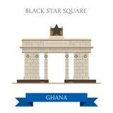 Czarny gwiazda kwadrat w Accra Ghana płaskim wektorowym illus ilustracja wektor