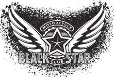 Czarny gwiazdowy motocyklu klubu projekt dla emblemata lub logo na grunge b Fotografia Royalty Free