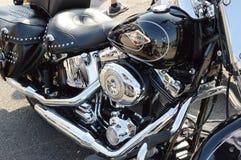 Czarny Harley Davidson motocykl w Padova Zdjęcie Royalty Free